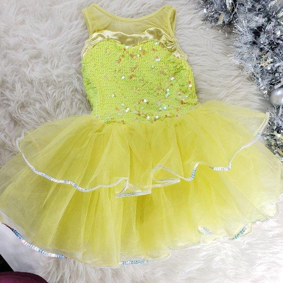 Dance Tutu Sequin Yellow Dress Girls Small (SC)